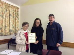 Certificate presented to Joan Wuyts